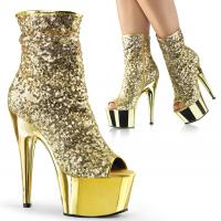 ADORE-1008SQ Pleaser High-Heels Peep-Toe Stiefeletten Pailletten gold chrom