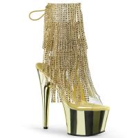 ADORE-1017RSF Pleaser High-Heels Peep-Toe Chromplateau Fransen-Stiefeletten gold