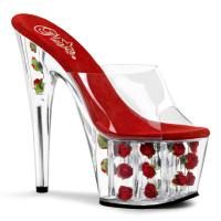 ADORE-701FL Pleaser high heels platform slide mules clear red flowers