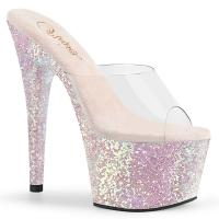 ADORE-701LG Pleaser high heels platform slide mules clear silver multi glitter