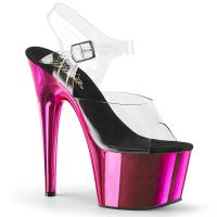 ADORE-708 Pleaser High-Heels Plateausandaletten transparent hotpink Chrom