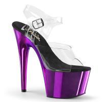 ADORE-708 Pleaser High-Heels Plateausandaletten transparent lila Chrom