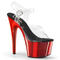 ADORE-708 Pleaser High-Heels Plateausandaletten transparent rot Chrom