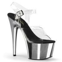 ADORE-708 Pleaser High-Heels Plateausandaletten transparent silber Chrom