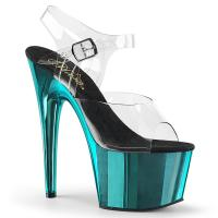 ADORE-708 Pleaser High-Heels Plateausandaletten transparent türkis Chrom