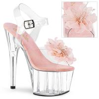 ADORE-708BFL Pleaser High Heels sandal clear baby pink organza flower beads