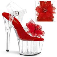 ADORE-708BFL Pleaser High Heels sandal clear red organza flower beads