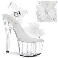 ADORE-708BFL Pleaser High Heels sandal clear white organza flower beads