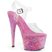 ADORE-708CF Pleaser vegan ankle strap plateau sandal confetti covering clear pink glitter