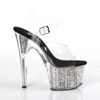 ADORE-708CG Pleaser high heels platform ankle strap sandal clear silver confetti glitter