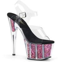 ADORE-708CG Pleaser high heels platform ankle strap sandal clear pink confetti glitter