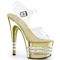ADORE-708CHLN Pleaser high heels lined platform sandal clear gold chrome