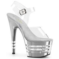 ADORE-708CHLN Pleaser high heels lined platform sandal clear silver chrome