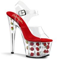 ADORE-708FL Pleaser high heels flower-filled platform ankle strap sandal clear red