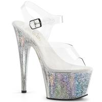 ADORE-708HB Pleaser High-Heels Platform Sandal clear silver orbit effect