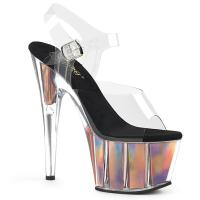 ADORE-708HGI Pleaser High Heels sandal clear rose gold holographic inserts