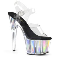 ADORE-708HGI Pleaser High Heels sandal clear silver holographic inserts