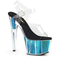 ADORE-708HGI Pleaser High Heels sandal clear turquoise holographic inserts