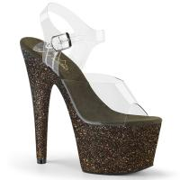 ADORE-708HMG Pleaser high heels sandal clear dark green holographic mini glitter