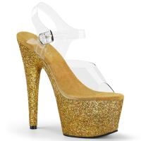 ADORE-708HMG Pleaser high heels sandal clear gold holographic mini glitter