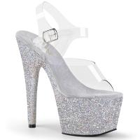 ADORE-708HMG Pleaser high heels sandal clear silver holographic mini glitter