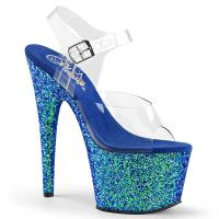 ADORE-708LG Pleaser high heels platform sandal clear blue holographic multi glitter