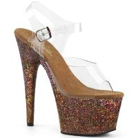 ADORE-708LG Pleaser high heels platform sandal clear copper holographic multi glitter