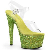 ADORE-708LG Pleaser high heels platform sandal clear lime holographic multi glitter