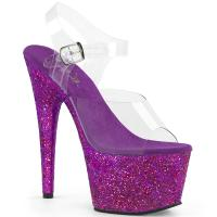 ADORE-708LG Pleaser high heels platform sandal clear purple holographic multi glitter