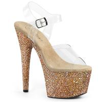 ADORE-708LG Pleaser high heels platform sandal clear rose gold holographic multi glitter