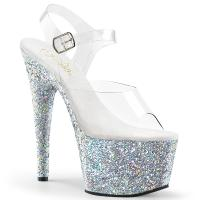 ADORE-708LG Pleaser high heels platform sandal clear silver holographic multi glitter