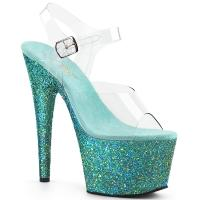 ADORE-708LG Pleaser high heels platform sandal clear teal holographic multi glitter