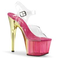 ADORE-708MCT Pleaser high heels platform sandal clear pink tinted