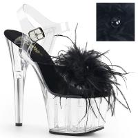 ADORE-708MF Pleaser High-Heels Platform Sandal clear black marabou feather