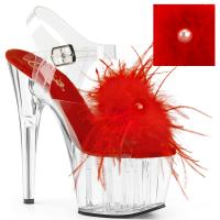 ADORE-708MF Pleaser High-Heels Platform Sandal clear red marabou feather