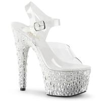 ADORE-708MR-5 Pleaser high heels platform sandal clear white silver glitter stones