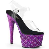 ADORE-708MSLG Pleaser High-Heels Platform Sandal clear purple glitter