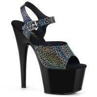 ADORE-708N-CK Pleaser high heels platform sandal black cracker hologram