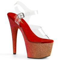 ADORE-708OMBRE Pleaser High Heels Platform Sandal rose gold red glitter