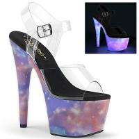 ADORE-708REFL Pleaser high heels platform ankle strap sandal purple blue reflective