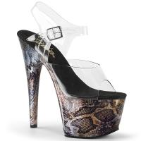 ADORE-708SP Pleaser High Heels platform sandal clear tan snake print