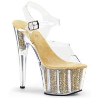 ADORE-708SRS Pleaser High Heels platform sandal clear gold simulated rhinestones