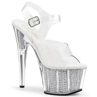 ADORE-708SRS Pleaser High Heels platform sandal clear silver simulated rhinestones