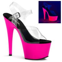 ADORE-708UV Pleaser high heels platform ankle strap sandal clear neon pink uv