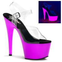 ADORE-708UV Pleaser high heels platform ankle strap sandal clear neon purple uv