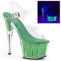 ADORE-708UVG Pleaser High Heels sandal clear neon green glitter