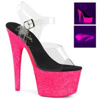 ADORE-708UVG Pleaser High Heels sandal clear neon hotpink glitter