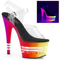 ADORE-708UVLN Pleaser High-Heels Plateau Sandaletten clear neon multicolor