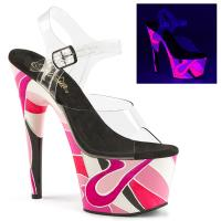 ADORE-708UVR Pleaser High Heels platform sandal clear pink multi mosaic art