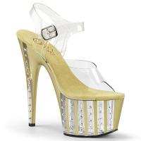 ADORE-708VLRS Pleaser High Heels lined platform sandal clear gold rhinestone